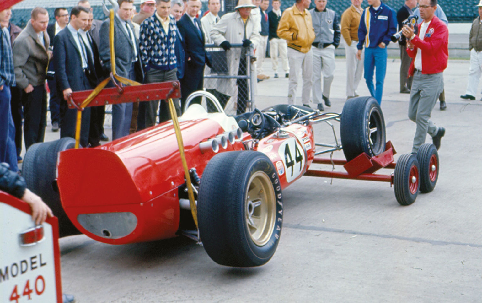 Chuck Arnold's Vollstedt-Offy is recovered after he crashed before qualifying for Indy in '67